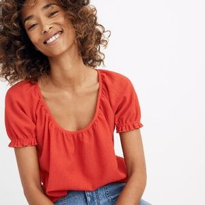Texture and Thread Peasant Top Madewell Red XL